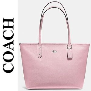 NWT COACH CITY ZIP TOTE PINK/SILVER